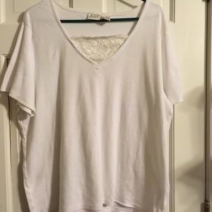 Woman's White Shirt with Lace Accent